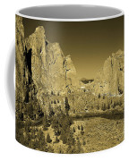 Crooked River At Smith Rock State Park Sepia Coffee Mug