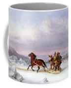 Crossing The Saint Lawrence From Levis To Quebec On A Sleigh Coffee Mug by Cornelius Krieghoff