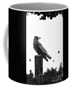 Crow On Fence Post Coffee Mug