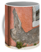 Crumbled Plaster Of An Orange Wall, Reflection Of A Boat In The Window Coffee Mug
