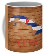 Cuba Rustic Map On Wood Coffee Mug