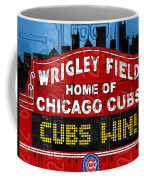 Cubs Win Wrigley Field Chicago Illinois Recycled Vintage License Plate Baseball Team Art Coffee Mug