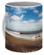 Cumulus Clouds Passing Across The Beach At Skegness Lincolnshire England Coffee Mug