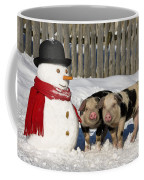 Curious Piglets And Snowman Coffee Mug