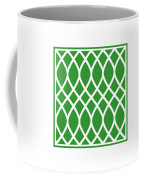 Curved Trellis With Border In Dublin Green Coffee Mug