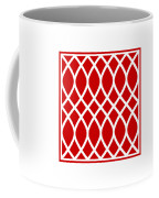 Curved Trellis With Border In Red Coffee Mug