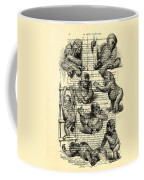 Baby Monkeys Playing Black And White Antique Illustration Coffee Mug