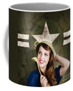 Cute Military Pin-up Woman On Army Star Background Coffee Mug by Jorgo Photography - Wall Art Gallery