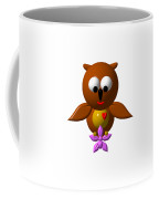 Cute Owl With Orchid Coffee Mug