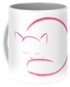 Cute Pink Curled Up Sleeping Kitty Artistic Illustration On White Background Art Print Coffee Mug