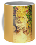 Cute Weathered White Garden Ornament Of A Dog Coffee Mug