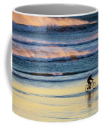 Cyclist Pedals Against The Wind At Pismo Beach Coffee Mug