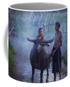Dad And Child Happy To Live In The Countryside,thailand, Vietnam Coffee Mug