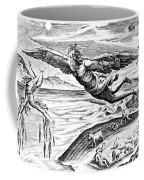 Daedalus Escaping From Crete With His Son, Icarus, Sees Him Falling To His Death Coffee Mug