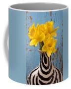 Daffodils In Wide Striped Vase Coffee Mug