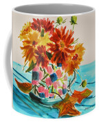 Dahlias In A Painted Cup Coffee Mug