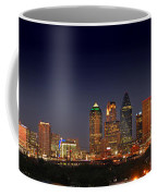 Dallas Skyline At Dusk Big Moon Night  Coffee Mug