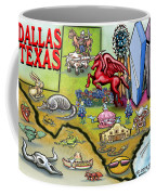 Dallas Texas Cartoon Map Coffee Mug