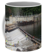 Dam Repairs  Along The Androscoggin River Coffee Mug