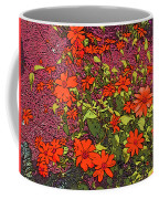 Dandy Digital Daisies In Red Coffee Mug