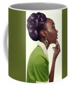 Dark Skinned Woman In Updo With Big Curls Coffee Mug