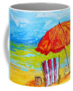 Day At The Beach - Modern Impressionist Knife Palette Oil Painting Coffee Mug