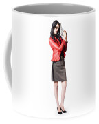 Dead Female Secret Agent Holding Hand Gun Coffee Mug
