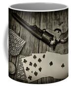 Dead Mans Hand Black And White Coffee Mug