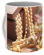 Decorated Carved Box In Aluminum And Pearl Necklace Coffee Mug
