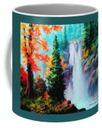 Deep Jungle Waterfall Scene. L A  Coffee Mug