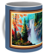 Deep Jungle Waterfall Scene L A With Alt. Decorative Ornate Printed Frame. Coffee Mug