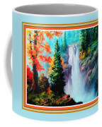 Deep Jungle Waterfall Scene L B With Decorative  Ornate Printed Frame. Coffee Mug