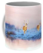 Deer At Winter Pond Coffee Mug