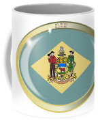 Delaware State Flag Oval Button Coffee Mug