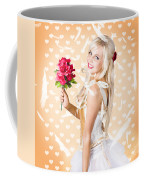Delicate Young Woman Holding Flower Bunch Coffee Mug