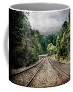 Destination Unknown, Travel Journey Train Tracks Coffee Mug