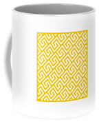 Diagonal Greek Key With Border In Mustard Coffee Mug