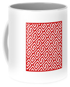 Diagonal Greek Key With Border In Red Coffee Mug