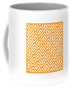 Diagonal Greek Key With Border In Tangerine Coffee Mug
