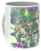 Digital Pencil Sketch Flowers Coffee Mug