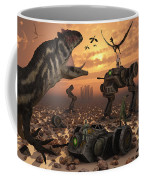 Dinosaurs And Robots Fight A War Coffee Mug