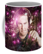 Disconnected Male Dj Holding Unplugged Audio Jack Coffee Mug