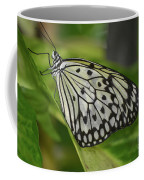 Distinctive Side Profile Of A White Tree Nymph Butterfly Coffee Mug