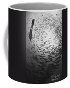 Diver And A Large School Of Bigeye Coffee Mug by Steve Jones