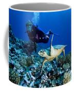 Diver And Green Sea Turtle Chelonia Coffee Mug