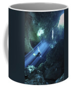 Diver Silhouetted In Sunrays Of Cenote Coffee Mug