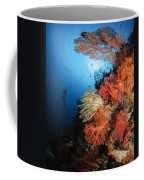 Diver Swims By A Soft Coral Reef Coffee Mug
