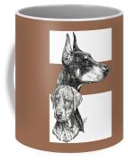 Cropped Doberman Pinscher And Pup Coffee Mug