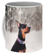 Doberman Snow Portrait Coffee Mug