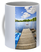 Dock On Lake In Summer Cottage Country Coffee Mug by Elena Elisseeva